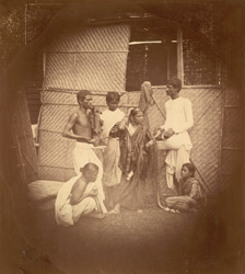 Group of musicians and dancers, Eastern Bengal.